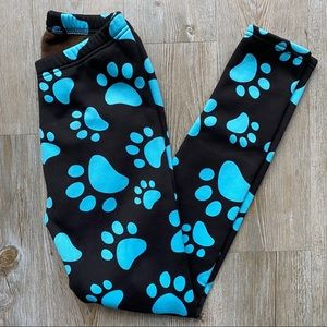 JUST COZY   Fleece Lined Paw Print Pants